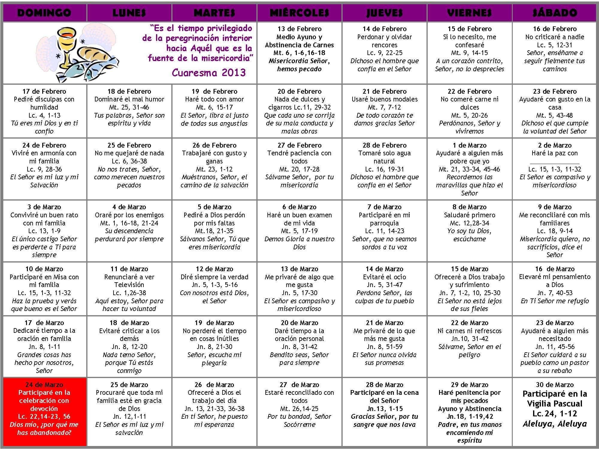 Calendario Liturgico CATOLICO 2014